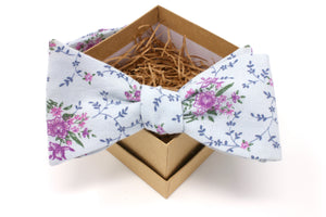 Blue and Purple Floral Bow Tie