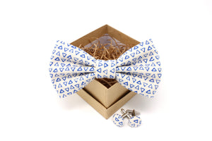 Blue and White Triangle Bow Tie and Cufflinks Set