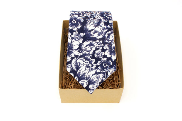 Navy and White Floral Tie