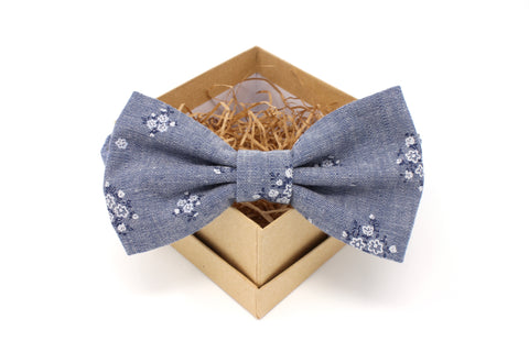 Blue Chambray Floral Bow Tie