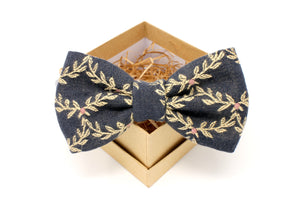 Embroidered Garland Bow Tie