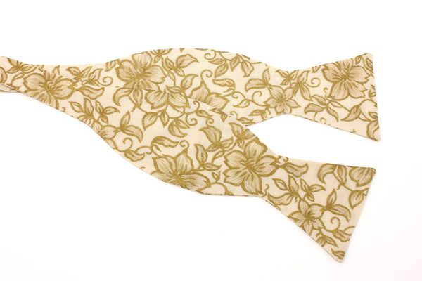 Cream and Metallic Gold Floral Bow Tie