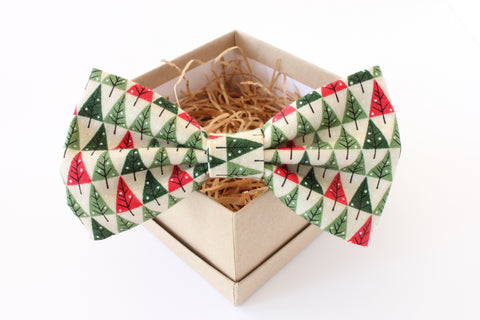 Red & Green Christmas Tree Children's Bow Tie