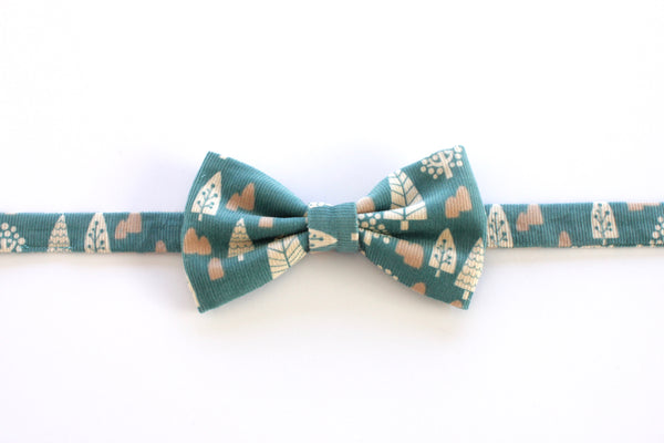 Woodland Turquoise Corduroy Adult Bow Tie