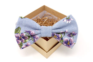 RESERVED for Emily - Light Denim & Purple Floral Bow Tie