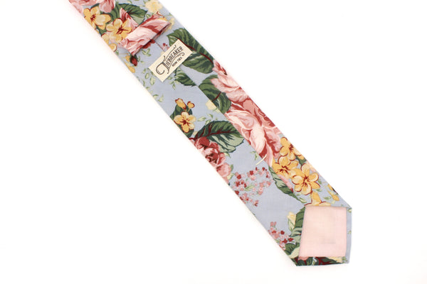Light Blue and Dusty Rose Floral Tie