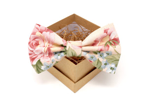 Soft Pink Floral Bow Tie