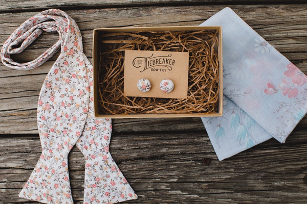 Peachy Pink Ditsy Floral Bow Tie