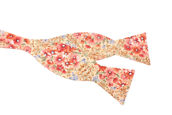 Pink and Peach Floral Bow Tie