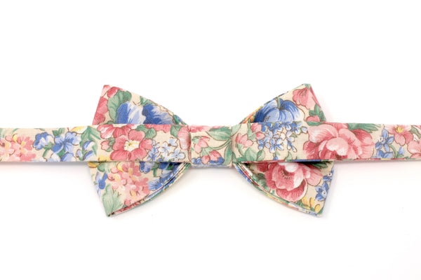 Pink, Blue, and Tan Floral Bow Tie