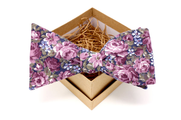 Purple and Navy Floral Bow Tie