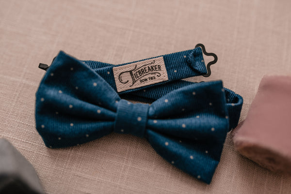 Blue Pin Dot Corduroy Bow Tie