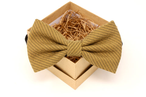 Mustard Gold & Black Bow Tie