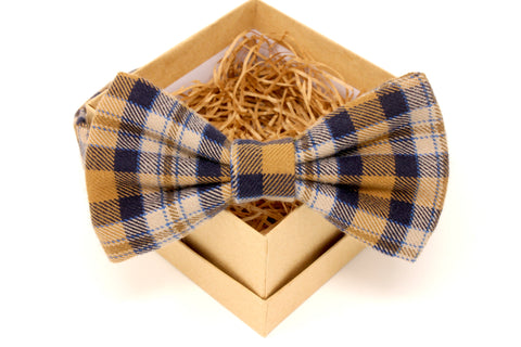 Gold & Navy Plaid Flannel Bow Tie