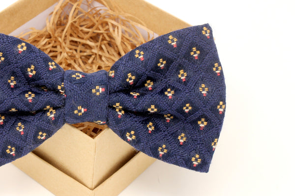 Navy Blue Diamond Pattern Bow Tie