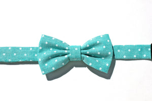 Teal Polka Dot Children's Bow Tie