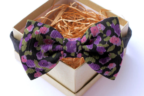 Purple & Black Floral Bow Tie