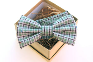 Grey & Green Plaid Bow Tie
