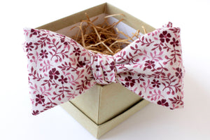 Maroon & Pink Floral Bow Tie