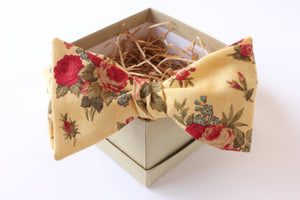 Gold and Red Floral Bow Tie