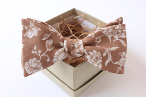 Brown and White Floral Bow Tie