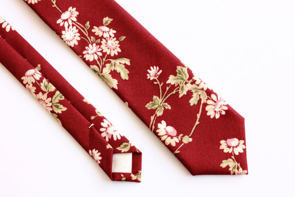 Red & White Floral Skinny Tie