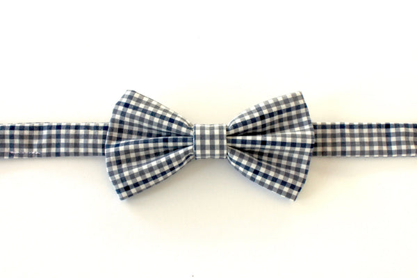 Grey and Black Gingham Children's Bow Tie