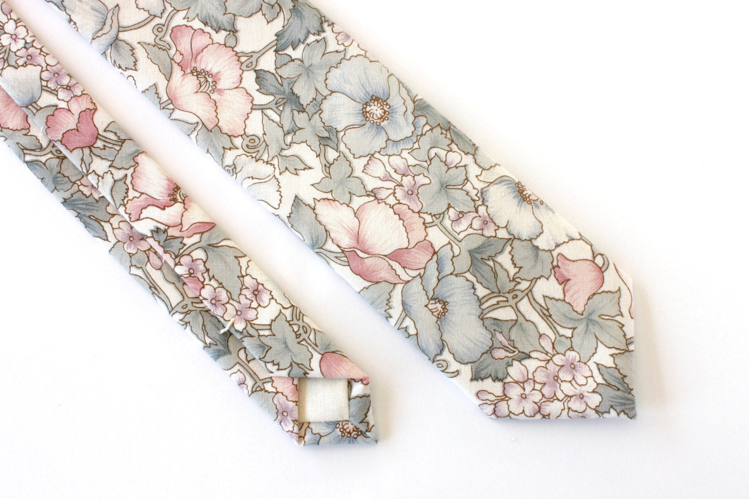 Blue and Pink Floral Skinny Tie