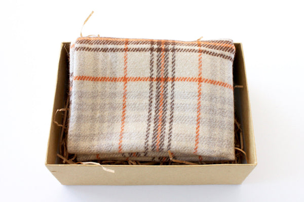 Cream and Brown Plaid Pocket Square