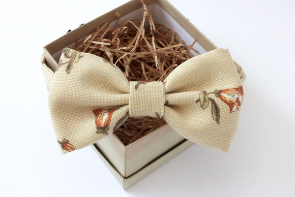 Beige and Orange Floral Bow Tie