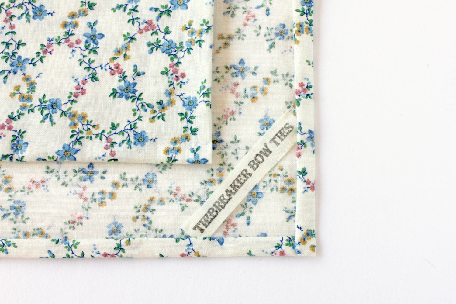 White, Blue, & Pink Floral Pocket Square