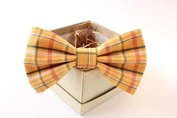 Gold Plaid Bow Tie