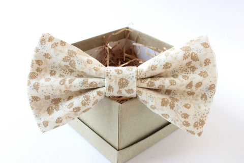 Beige and Tan Leaf Bow Tie