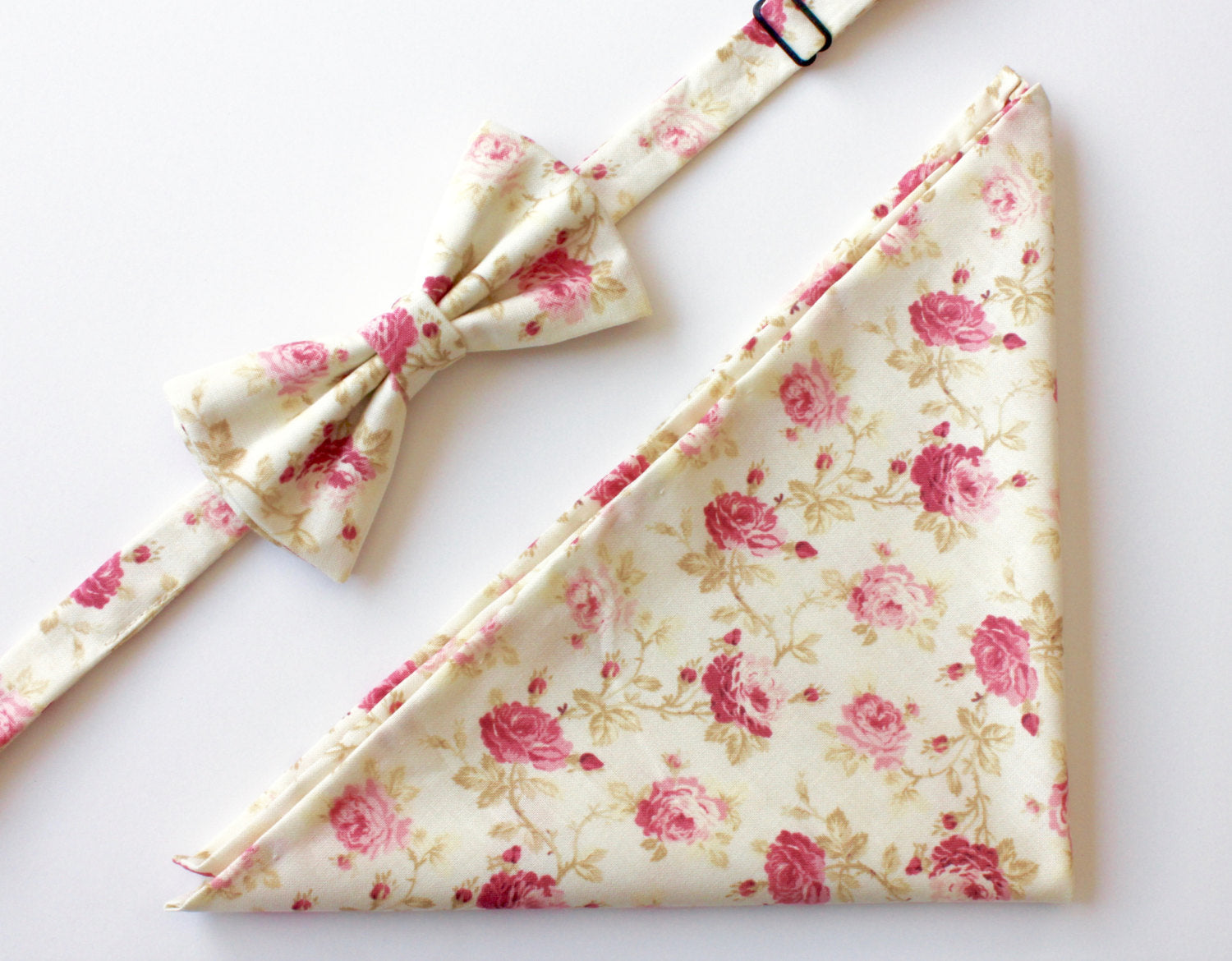 Pink & Cream Floral Bow Tie & Pocket Square Gift Set
