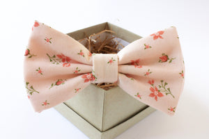 Peach and Coral Floral Bow Tie
