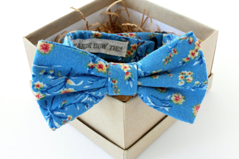 Blue Floral Children's Bow Tie
