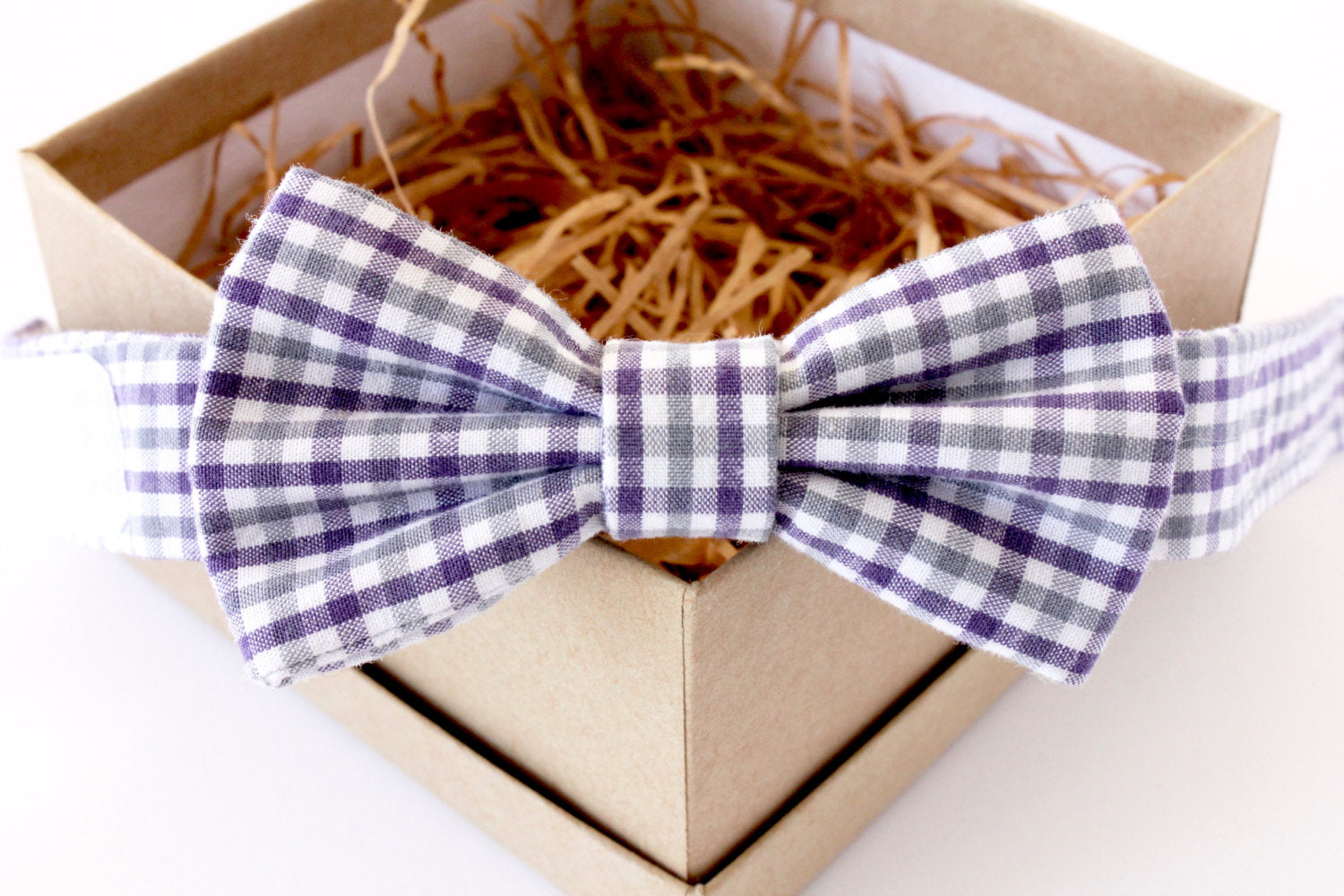 Grey and Purple Gingham Children's Bow Tie