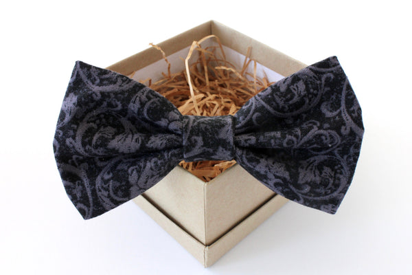 Black and Grey Print Bow Tie