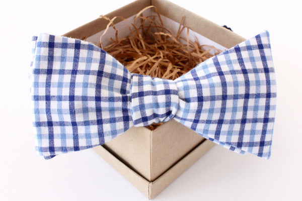 Light Blue and Navy Gingham Bow Tie