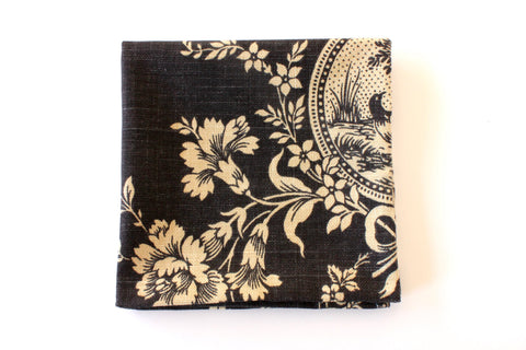 Navy & Beige Floral Pocket Square
