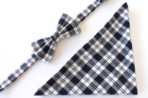Navy Plaid Bow Tie & Pocket Square Gift Set