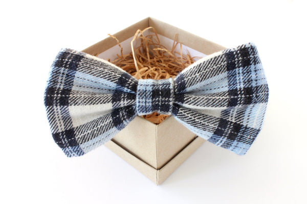 Blue Plaid Bow Tie & Pocket Square Gift Set
