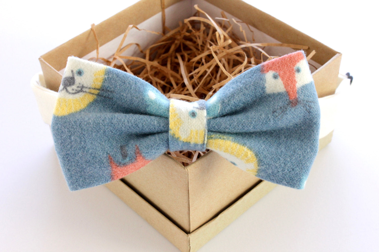 Blue Animal Print Children's Bow Tie