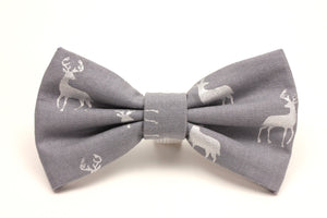 Grey and Silver Deer Print Dog Bow Tie
