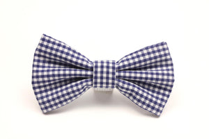 Blue Gingham Dog Bow Tie