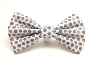 Grey and White Polka Dot Pet Bow Tie