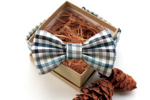 Teal & Grey Plaid Bow Tie