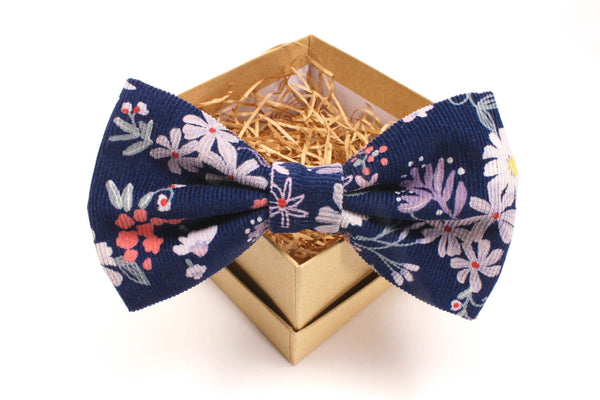 Navy and Purple Floral Corduroy Bow Tie
