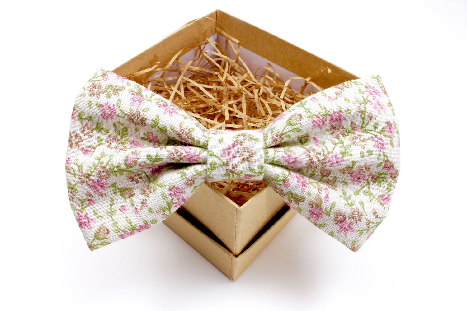 Pink, Green, & Beige Floral Bow Tie