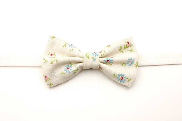 Cream and Blue Floral Bow Tie